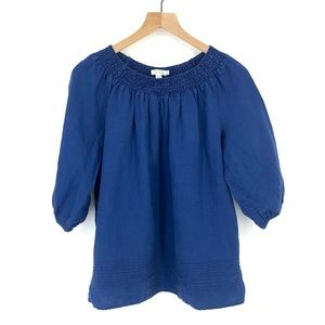 Boden Blue Linen Top w/ Cinched Collar - Size 10